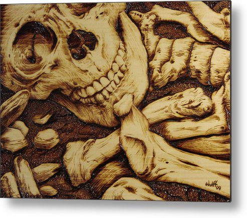 Skull Metal Print featuring the pyrography Remains Of The Day by Chris Wulff