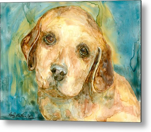 Canine Metal Print featuring the painting Retriever Puppy 2 by Andy Mathis