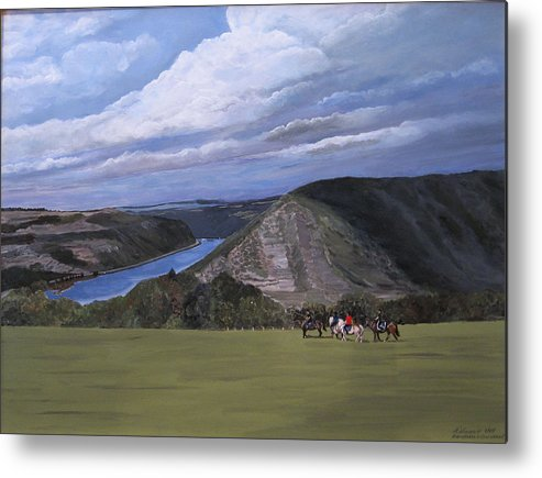 Rhine Metal Print featuring the painting Rhine River Valley Near Loreley by Antje Wieser