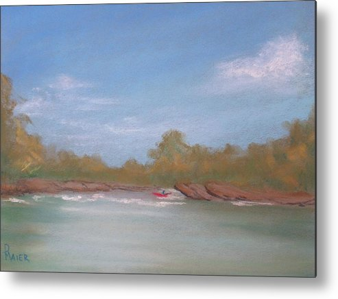 Riverscape Metal Print featuring the painting River Rocks by Pete Maier