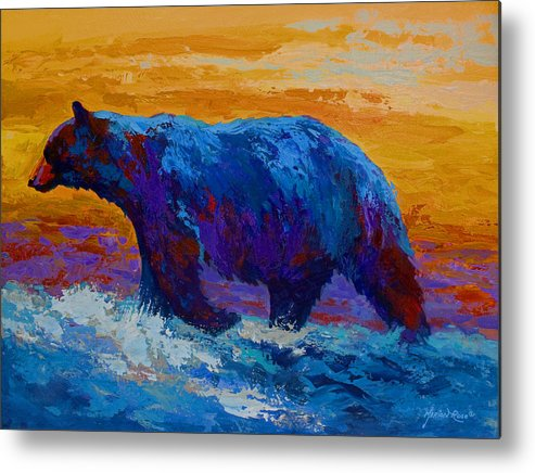 Bear Metal Print featuring the painting Rivers Edge I by Marion Rose