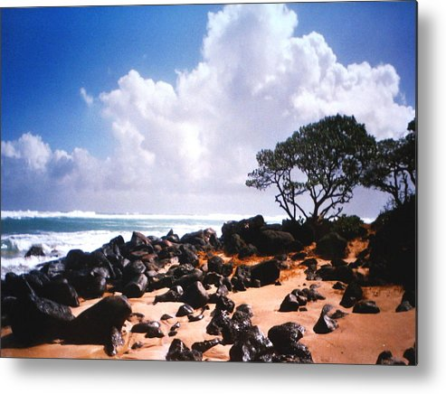 Beach Metal Print featuring the photograph Rock And Sand by Diane Merkle