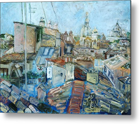 Cityscape Rome Roofs Chimneys Churches Cathedral Metal Print featuring the print Roofs Of Rome 1 by Joan De Bot