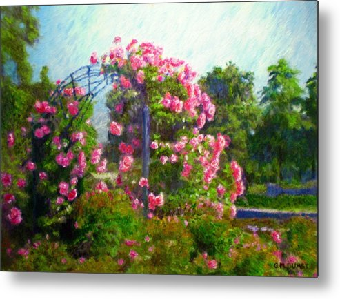 Rose Metal Print featuring the painting Rose Trellis by Michael Durst