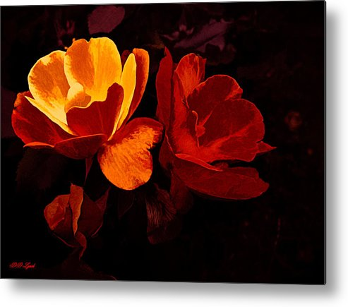 Gold Metal Print featuring the mixed media Roses In Molten Gold Art by Debra Lynch