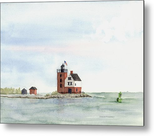 Lighthouse Metal Print featuring the painting Round Island Lighthouse by Susan Mahoney