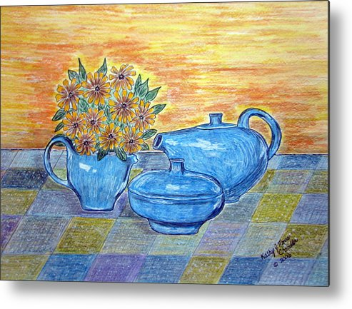 Russell Wright China Metal Print featuring the painting Russel Wright China by Kathy Marrs Chandler