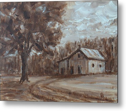 Barn Metal Print featuring the painting Rustic by Pete Maier