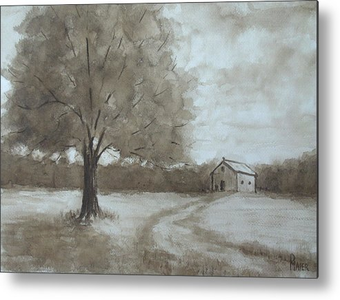 Sepia Metal Print featuring the painting Rustic Ridge by Pete Maier