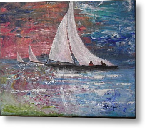 Ocean Metal Print featuring the painting Sailboats At Sunrise by Barbara Harper
