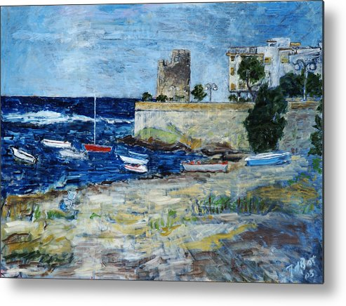 Sea Sky Sardinia Italy Boats Castle Beach Blue Metal Print featuring the painting Santa Lucia by Joan De Bot