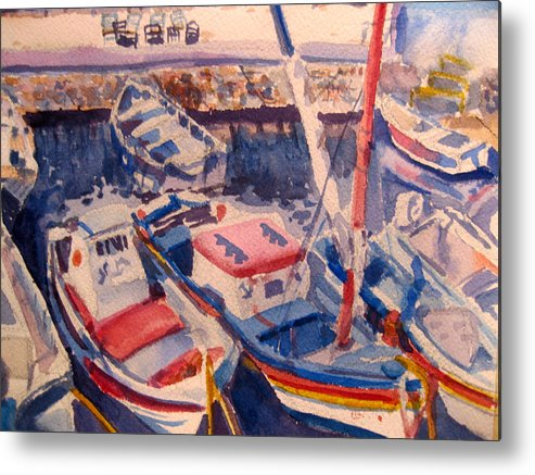 Boats Metal Print featuring the painting Santorini Boats Study by Joyce Kanyuk