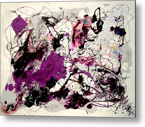 Abstract Metal Print featuring the painting Saturn by Irma Hinghofer-Szalkay