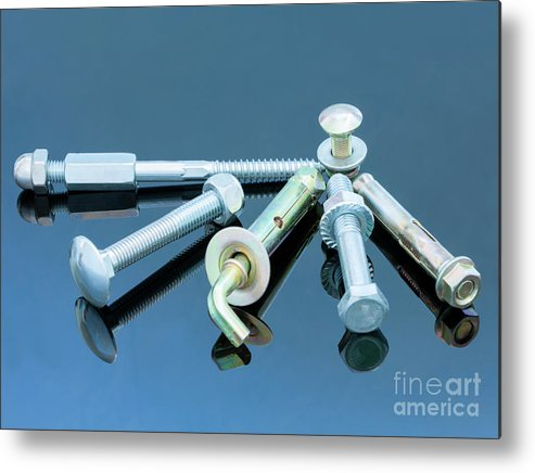 Metal Metal Print featuring the photograph Screwbolts Screw Nuts, Hanger And Bolt Washers On Blue Background Construction Concept. by Sergii Petruk
