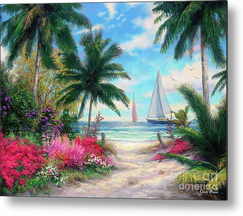 Tropical Metal Print featuring the painting Sea Breeze Trail by Chuck Pinson