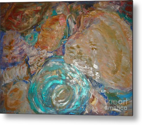 Seascape Metal Print featuring the painting Sea Shells by Fereshteh Stoecklein