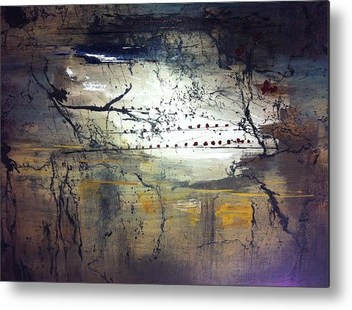 Abstract Metal Print featuring the painting Ships Night by Lorraine G Collins