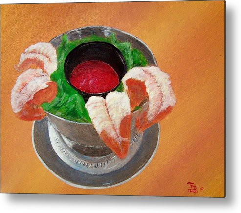 Food Metal Print featuring the painting Shrimp Cocktail by Tony Rodriguez