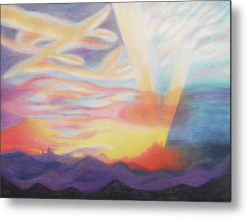 Sky Metal Print featuring the painting Sky Ablaze by Suzanne Marie Leclair