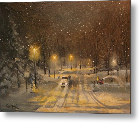 Christmas Lights Metal Print featuring the painting Snow For Christmas by Tom Shropshire