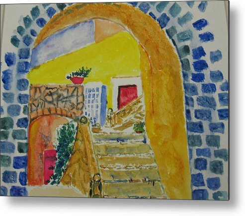 Spain Metal Print featuring the painting Spanish Stairs by Everett Kimball