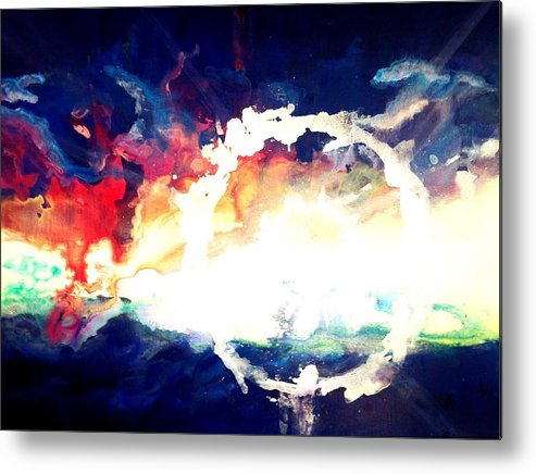 Abstract Metal Print featuring the painting Splashed Sunset by Sarah Mieder