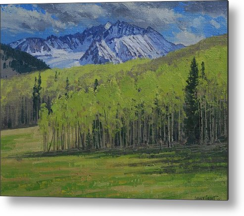 Landscape Metal Print featuring the painting Spring Aspen by Lanny Grant