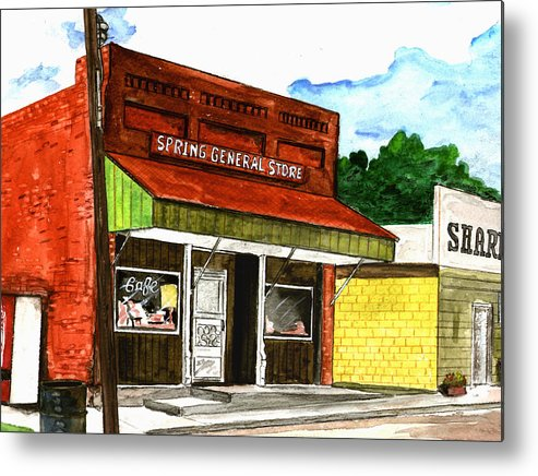 Kevin Callahan Metal Print featuring the painting Spring General Store Sharpsburgh Iowa by Kevin Callahan