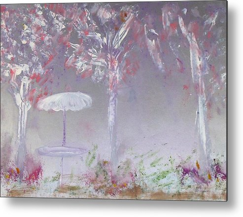 Abstract Metal Print featuring the painting Spring On The Patio by Michela Akers