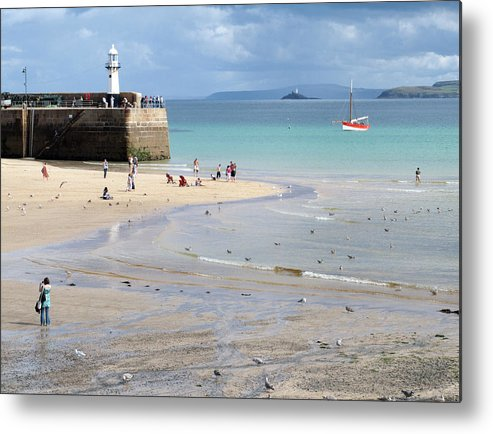 St. Ives Cornwall England English Britain British Uk Beach Pier Lighthouse Harbour Gulls People Water Seaside Sea Birds Boat Landscape Seascape Metal Print featuring the photograph St. Ives, Harbour Beach by John R Moore