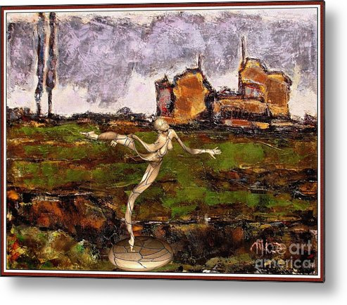 Modern Painting Metal Print featuring the mixed media Statue Of A Zombie 2 by Pemaro