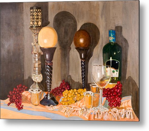 Still Life Metal Print featuring the painting Still Life With Orbs by Arvin Nealy
