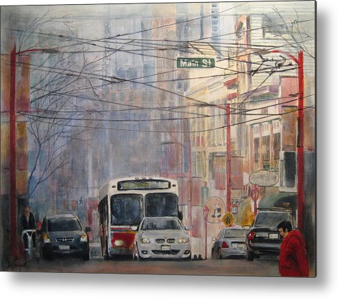 Bus Metal Print featuring the painting Stop Light by Victoria Heryet