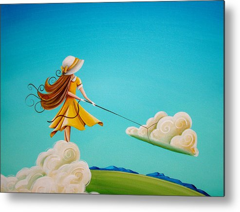 Girl Metal Print featuring the painting Storm Development by Cindy Thornton