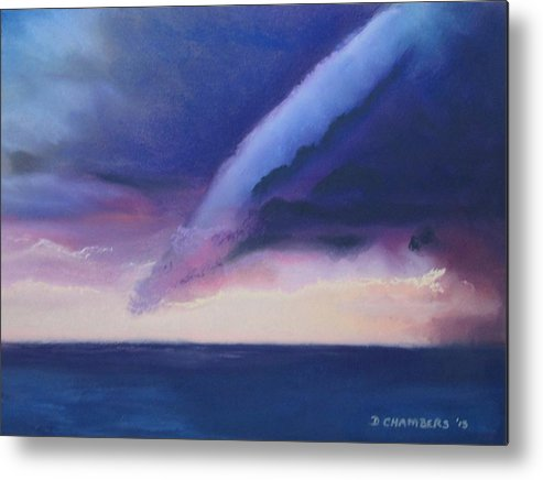 Storm Over The Lake At Sunset Metal Print featuring the painting Storm Over The Lake At Sunset by Donna Chambers