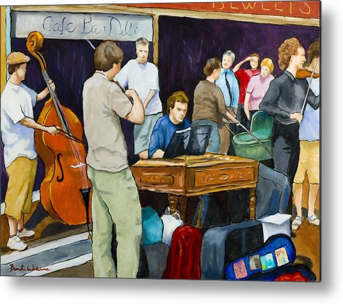 Figurative Metal Print featuring the painting Street Musicians In Dublin by Brenda Williams