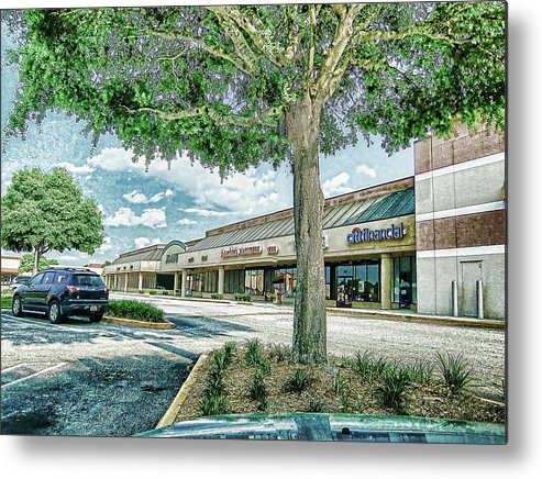 Mall Metal Print featuring the photograph Strip Mall Digital Art by Francesco Roncone