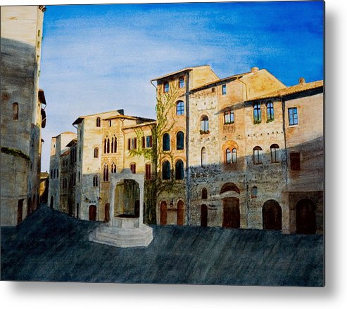 Landscape Metal Print featuring the painting Summer Evening In San Gimignano by Monika Degan