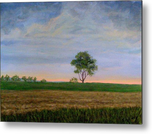 Landscape Metal Print featuring the painting Summer Storm by Evelynn Eighmey