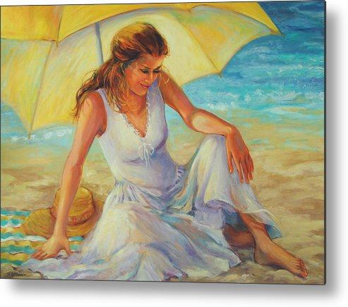 Beach Metal Print featuring the painting Sunlit by Dianna Willman