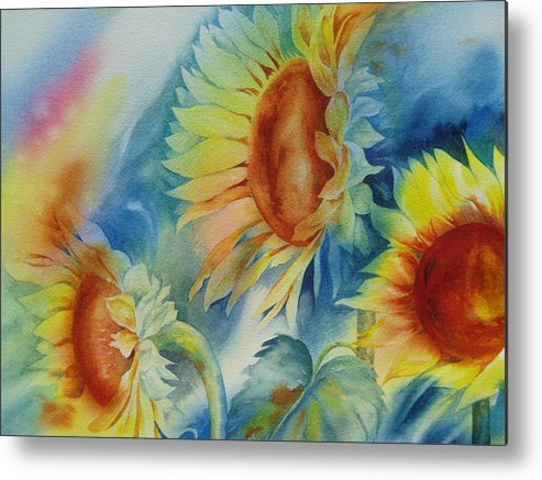Sunflowers Metal Print featuring the painting Sunny Flowers I by Tara Moorman