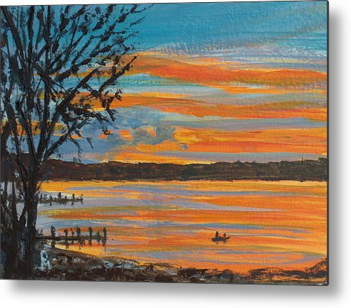 Lakescape Metal Print featuring the painting Sunset Lake by Pete Maier