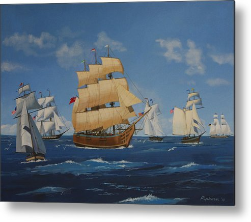 Ships Duluth Landscape Sea Water Sailing Boats Lake Superior Ocean Minnesota Metal Print featuring the painting Tall Ships Duluth I by Werner Pipkorn