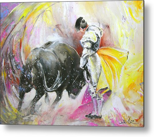 Animals Metal Print featuring the painting Taurean Power by Miki De Goodaboom