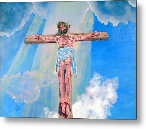 Christian Metal Print featuring the painting The Crucifixion Daytime by Stan Hamilton