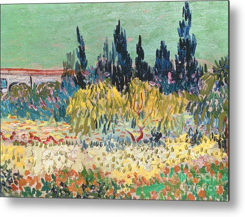Garden In Bloom Metal Print Featuring The Painting The Garden At Arles By  Vincent Van Gogh