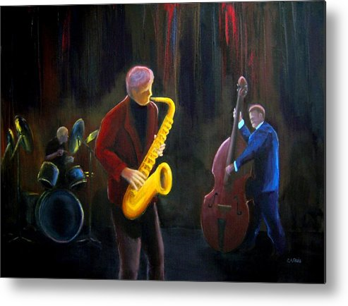 Jazz Metal Print featuring the painting The Gig by Clemens Greis