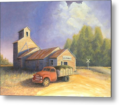 Nebraska Metal Print featuring the painting The Lisco Elevator by Jerry McElroy