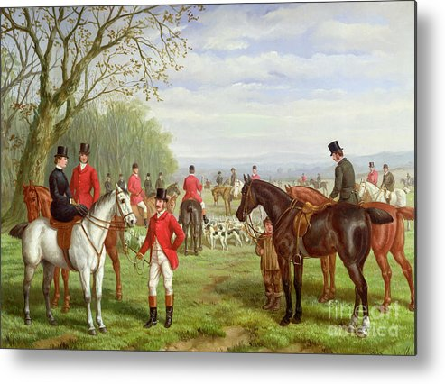 The Metal Print featuring the painting The Meet by Edward Benjamin Herberte