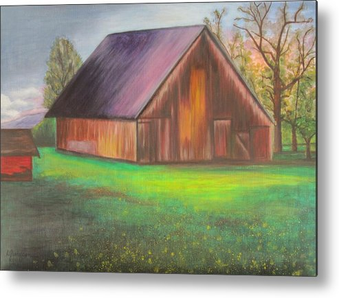 Oil Metal Print featuring the painting The Ranch by Leslie Gustafson